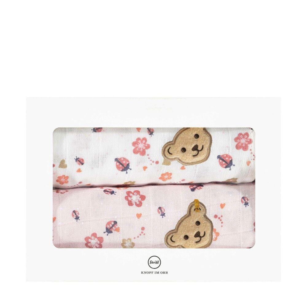 Steiff textilpelenka 2db-os csomagban- Baby Girls - Bugs Life kollekcó világos rózsaszín  | Bunny and Teddy