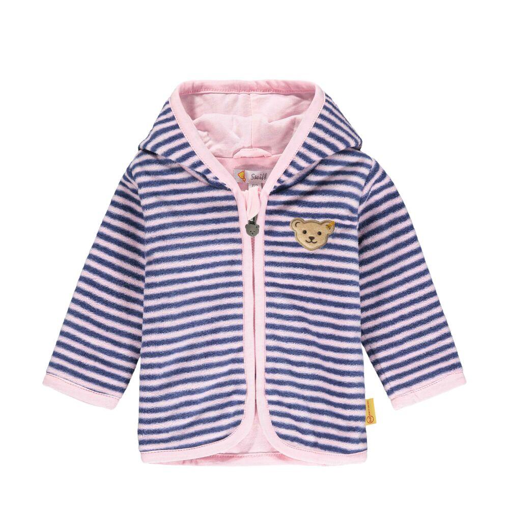 Steiff csíkos kocsikabát polár fleece anyagból pamut béléssel- Baby Girls - Bugs Life kollekcó kék  | Bunny and Teddy