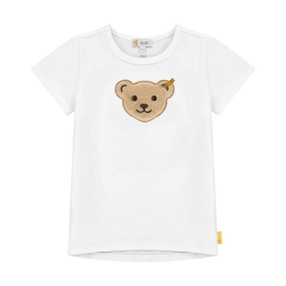 Steiff rövid ujjú pamut póló sípoló hangot kiadó macival az elején- Mini Boys - Hello Summer kollekció fehér    Bunny and Teddy