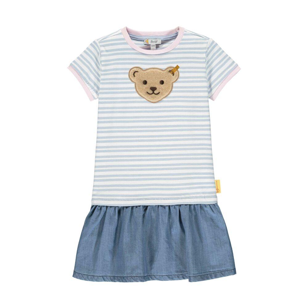 Steiff csíkos ruha sípoló hangot kiadó macival az elején- Mini Girls - Hello Summer kollekció kék  | Bunny and Teddy