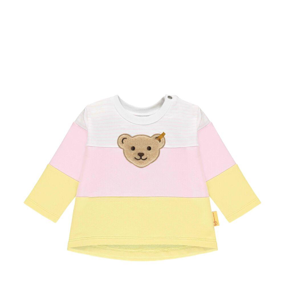Steiff pamut pulóver vastag csíkokkal- Baby Girls - Hello Summer kollekció rózsaszín  | Bunny and Teddy