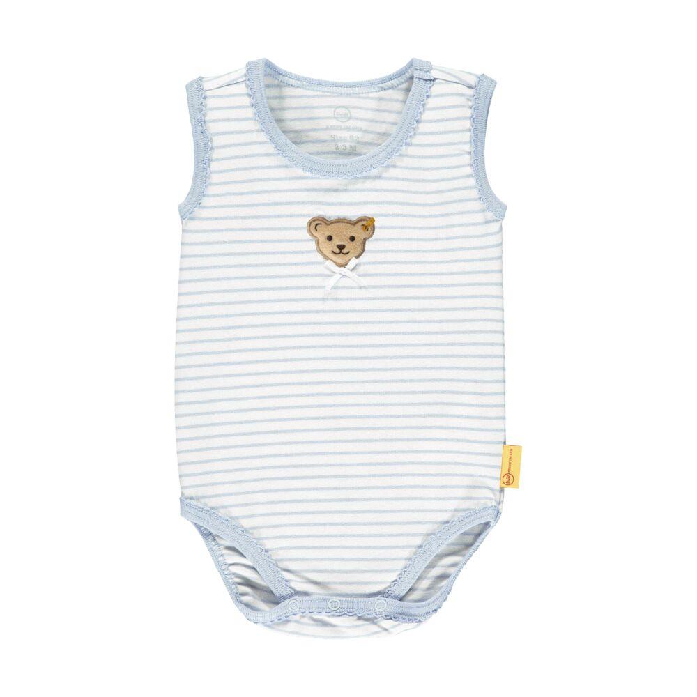 Steiff csíkos ujjatlan body- Baby Girls - Hello Summer kollekció kék  | Bunny and Teddy