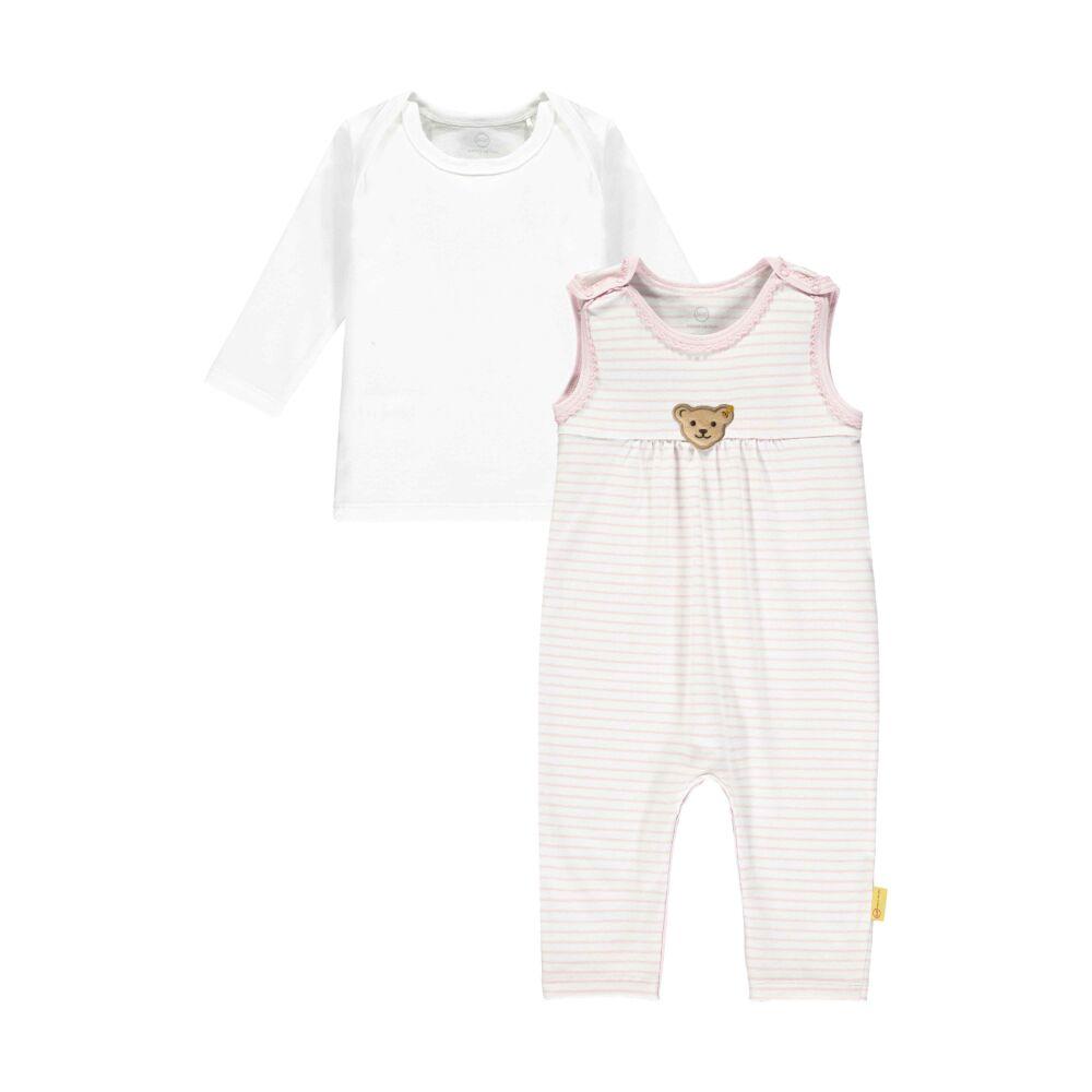 Steiff hosszú ujjú póló és csíkos lábfej nélküli rugdalózó szett- Baby Girls - Hello Summer kollekció rózsaszín  | Bunny and Teddy