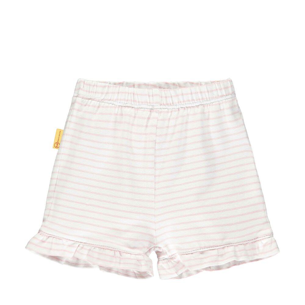Steiff csíkos fodros rövidnadrág- Baby Girls - Hello Summer kollekció rózsaszín  | Bunny and Teddy