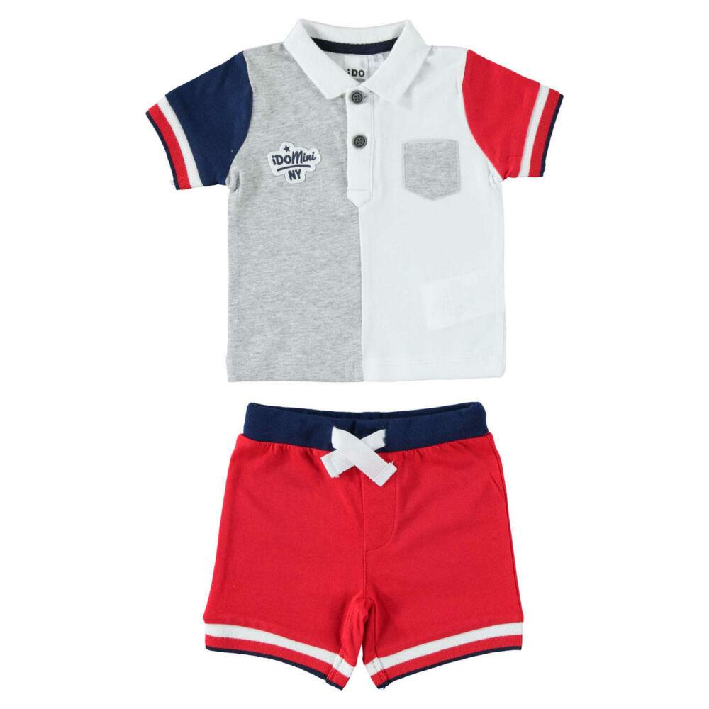 iDO galléros póló és rövidnadrág szett - piros - Bunny and Teddy