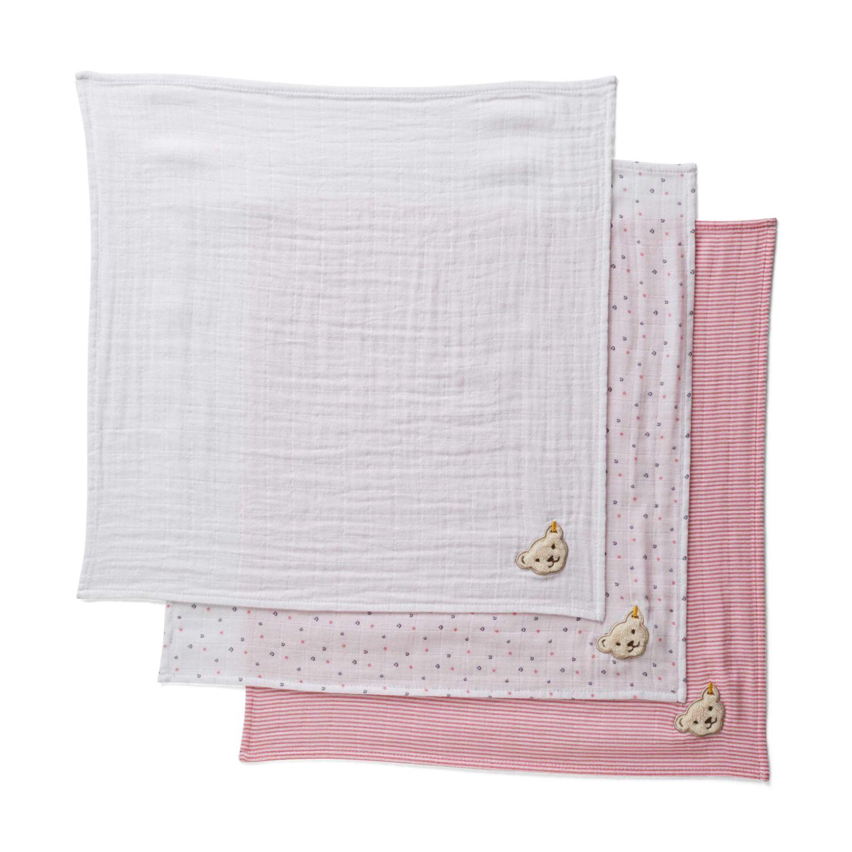 f5b0a5cbb2 Steiff textil pelenka 3 db-os csomag- fehér- Bunny and Teddy Katt rá a  felnagyításhoz