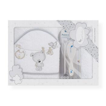 fürdőlepedő baba törölköző fésű szett Bunny and Teddy