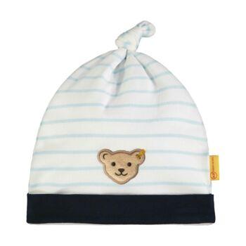 Steiff csíkos kisfiú baba sapka pamutból  - Bear Blues kollekció