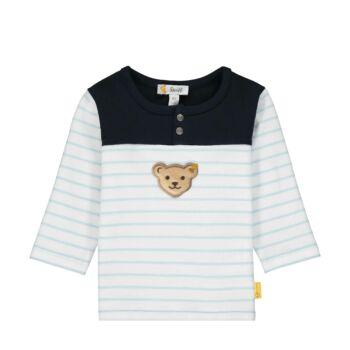 Steiff csíkos hosszú ujjú baba pulóver patentokkal az elején - Bear Blues kollekció-világos kék-Bunny and Teddy