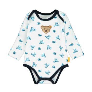 Steiff hosszú ujjú boríték nyakú body kisfiúknak macis mintával - Bear Blues kollekció-fehér-Bunny and Teddy