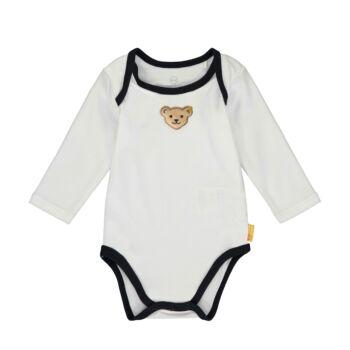 Steiff kisfiú boríték nyakú body kontrasztos szegélyekkel - Bear Blues kollekció-fehér-Bunny and Teddy