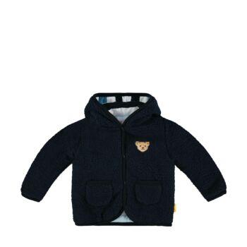 Steiff kisfiú polár fleece kocsikabát kapucnival - Bear Blues kollekció-sötét kék/fekete-Bunny and Teddy