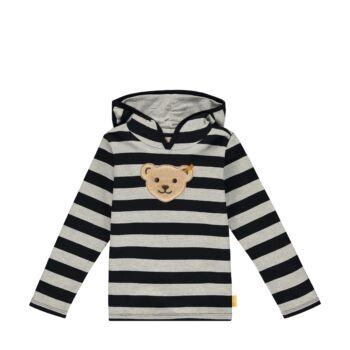 Steiff Csíkos pulóver puha pamutból nagy kapucnival - Go Bear Go kollekció