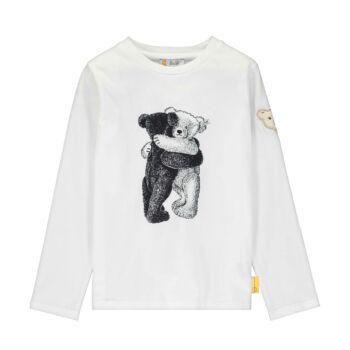 Steiff hosszú ujjú pamut póló nyomott macis mintával - Go Bear Go kollekció-fehér-Bunny and Teddy