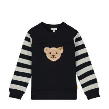 Steiff pamut pulóver csíkos ujjakkal kisfiúknak - Go Bear Go kollekció-sötét kék/fekete-Bunny and Teddy