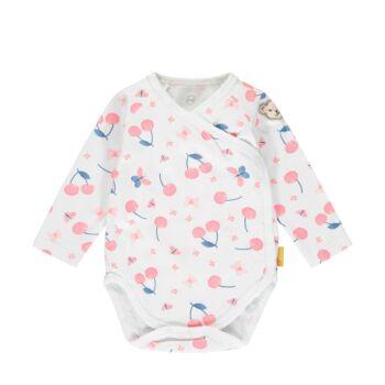 Steiff cseresznye mintás hosszú ujjú átlapolós pamut body - Bear & Cherry kollekció - fehér - Bunny and Teddy