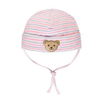 Steiff csíkos pamut baba sapka - Bear & Cherry kollekció - világos rózsaszín - Bunny and Teddy