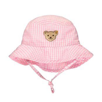 Steiff kockás nyári baba sapka  - Bear & Cherry kollekció - világos rózsaszín - Bunny and Teddy