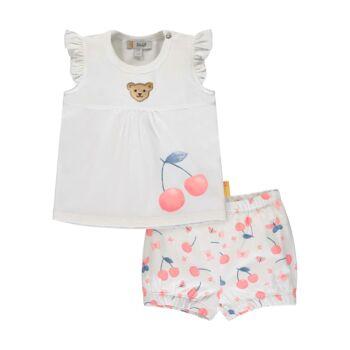 Steiff fodros ujjú felső felső és cseresznye mintás rövidnadrág szett - Bear & Cherry kollekció - fehér - Bunny and Teddy