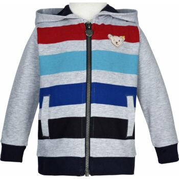 Steiff kapucnis pamut pulóver kisfiúknak az ejeén cipzárral Safari Bear - mini boys kollekció - szürke - Bunny and Teddy