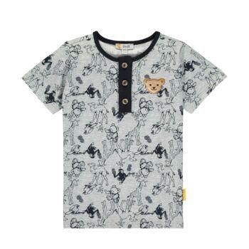 Steiff állat mintás póló gombokkal az elején Safari Bear - mini boys kollekció - szürke - Bunny and Teddy