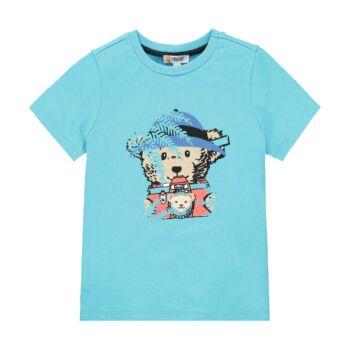 Steiff rövid ujjú pamut póló macival és fényképezőgéppel az elején Safari Bear - mini boys kollekció - kék - Bunny and Teddy