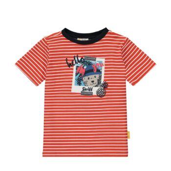 Steiff rövid ujjú csíkos pamut póló Safari Bear - mini boys kollekció - narancssárga - Bunny and Teddy