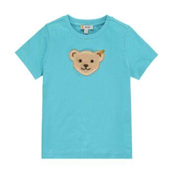 Steiff egyszínű pamut póló sípoló hangot kiadó macival az elején Safari Bear - mini boys kollekció - kék - Bunny and Teddy