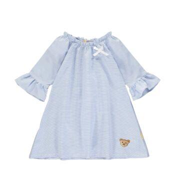 Steiff kék fehér csíkos A-vonalú ruha kislányoknak - Sweet Cherry kollekió - kék - Bunny and Teddy