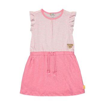 Steiff csíkos pamut ruha fodros ujjal - Sweet Cherry kollekió - rózsaszín - Bunny and Teddy