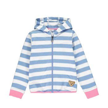 Steiff csíkos kapucnis pamut pulóver kislányoknak - Sweet Cherry kollekió - kék - Bunny and Teddy