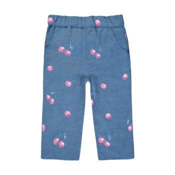Steiff cseresznyés farmernadrág kislányoknak - Sweet Cherry kollekió - kék - Bunny and Teddy
