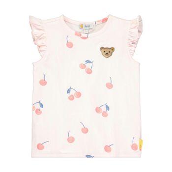 Steiff cseresznye mintás fodros ujjú póló kislányoknak - Sweet Cherry kollekió - világos rózsaszín - Bunny and Teddy