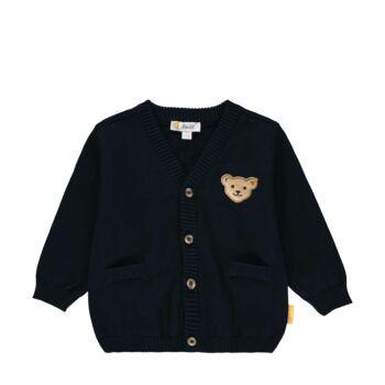 Steiff pamut kötött kardigán kisfiúknak Special Day- baby boys kollekció - sötétkék/fekete - Bunny and Teddy