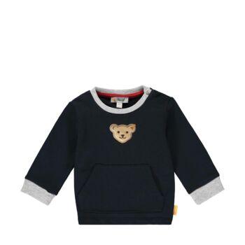 Steiff kenguruzsebes pamut pulóver melegítő felső- Baby Boys - Bear to School kollekcó sötétkék/fekete  | Bunny and Teddy