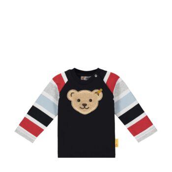 Steiff pamut melegítő felső, pulóver- Baby Boys - Bear to School kollekcó sötétkék/fekete  | Bunny and Teddy