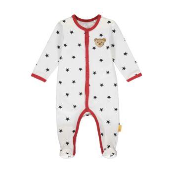 Steiff Csillagos, lábfejes rugdalózó, pizsama kisfiúknak- Baby Boys - Bear to School kollekcó fehér    Bunny and Teddy