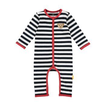 Steiff Csíkos,lábfej nélküli rugdalózó, pizsama kisfiúknak- Baby Boys - Bear to School kollekcó sötétkék/fekete  | Bunny and Teddy