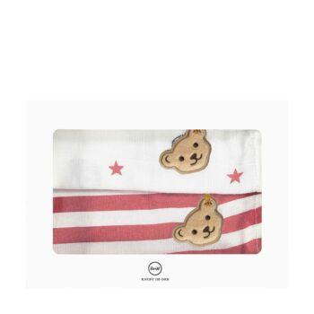 Steiff 2 darabos textil pelenka szett ajándékdobozban- Baby Boys - Bear to School kollekcó fehér  | Bunny and Teddy