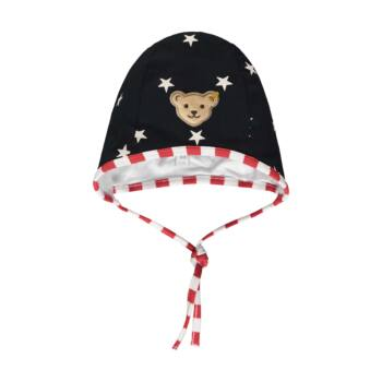 Steiff csillagos, pamut kisfiú sapka- Baby Boys - Bear to School kollekcó sötétkék/fekete  | Bunny and Teddy