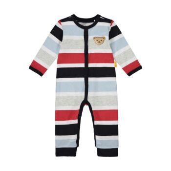 Steiff Csíkos rugdalózó, pizsama kisfiúknak- Baby Boys - Bear to School kollekcó sötétkék/fekete    Bunny and Teddy