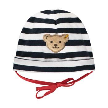 Steiff csíkos, pamut sapka kisfiúknak- Baby Boys - Bear to School kollekcó sötétkék/fekete  | Bunny and Teddy