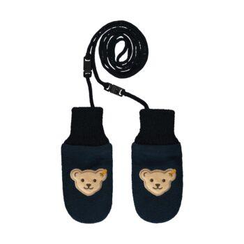 Steiff kötött babakesztyű- Baby Boys - Bear to School kollekcó sötétkék/fekete  | Bunny and Teddy