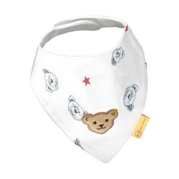Steiff nyomott mintás háromszög alakú kendő- Baby Boys - Bear to School kollekcó fehér  | Bunny and Teddy