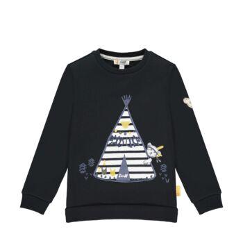 Steiff pamut pulóver macival és indián sátorral- Mini Boys - Indi Bear kollekcó sötétkék/fekete  | Bunny and Teddy
