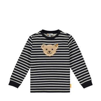 Steiff csíkos pamut pulóver sípoló hangot kiadó macival- Mini Boys - Indi Bear kollekcó sötétkék/fekete  | Bunny and Teddy