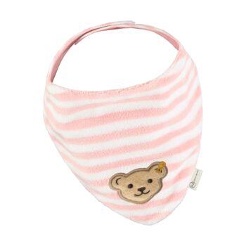 Steiff plüss biopamut háromszög alakú kendő- Baby Organic - Raindrops kollekcó világos rózsaszín  | Bunny and Teddy