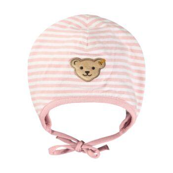 Steiff csíkos sapka biopamutból- Baby Organic - Raindrops kollekcó világos rózsaszín  | Bunny and Teddy