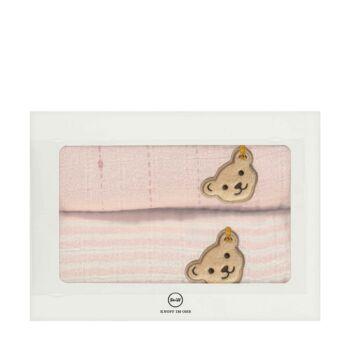 Steiff 2 darabos textilpelenka szett biopamutból díszdobozban- Baby Organic - Raindrops kollekcó világos rózsaszín  | Bunny and Teddy