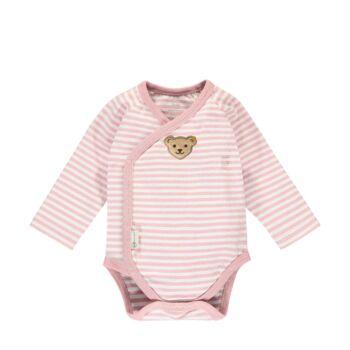 Steiff csíkos hosszú ujjú átlapolós body biopamutból- Baby Organic - Raindrops kollekcó világos rózsaszín    Bunny and Teddy